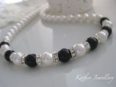 Emily  Black and white Pearl Bridal Necklace  by KathcoJewellery