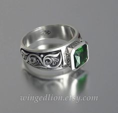 Hey, I found this really awesome Etsy listing at https://www.etsy.com/listing/257112281/tristan-silver-ring-with-emerald-cut