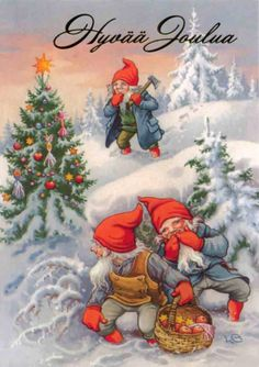 "Photo from album ""Lars Carlsson"" on Yandex. Christmas Gnome, Old Christmas, Very Merry Christmas, Vintage Christmas Cards, Beautiful Christmas, Vintage Cards, Scandinavian Gnomes, Scandinavian Christmas, Scandinavian Style"