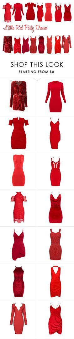 """""""Little Red Party Dresses"""" by erinhillsboro on Polyvore featuring Attico, love, FiRE, Boohoo and Miss Selfridge"""