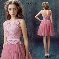 Pink Tulle Lace Short V-Neck Sleeveless Bridemade Dress $80.10   => Save up to 60% and Free Shipping => Order Now! #fashion #woman #shop #diy  http://www.weddress.net/product/pink-tulle-lace-short-v-neck-sleeveless-bridemade-dress-2016-above-knee-mini-a-line-princess-bride-wedding-dinner-party-dresses