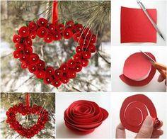Cómo hacer un corazón con flores de papel
