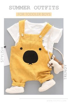 * Elastic design * Soft and comfy * Material: Cotton, PVC * Hand wash, hang dry * Include: 1 top, 1 overalls Diy Clothes Life Hacks, Clothing Hacks, Clothing Ideas, Little Babies, Cute Babies, Toddler Boys, Baby Boys, T Shirt Hacks, Toddler Jumpsuit