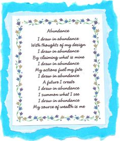 """From the book, """"Affirmation Poetry for Wealth and Abundance,"""" by Elizabeth D. Gray, available at amazon.com"""