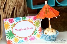 Tropical Fruit Cake Balls - Luau Birthday Party via Giggles Galore