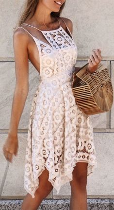 Hot Sale Popular Homecoming Dresses Short A-Line Spaghetti Straps Asymmetrical Ivory Lace Homecoming Dress Dresses Short, Simple Dresses, Cute Dresses, Beautiful Dresses, Casual Dresses, Flower Dresses, Trendy Dresses, Party Dresses, Trendy Outfits