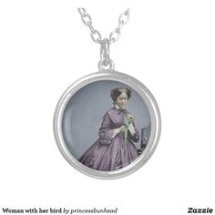 Woman with her bird silver plated necklace Girls Necklaces, Metal Necklaces, Victorian Era, Victorian Fashion, Pet Birds, Silver Plate, Black Women, Plating