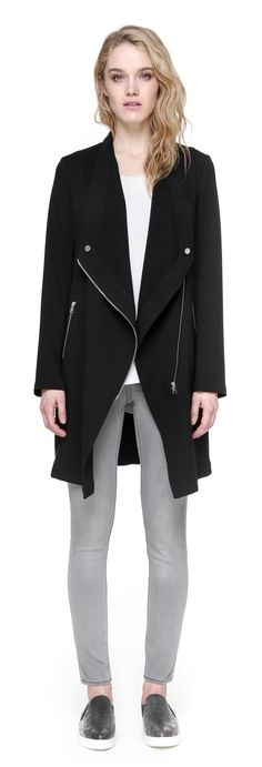 MOLLIE mid-length coat with large draped collar in black