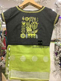 40 check blouse design to inspire you this season - Wedandbeyond Simple Blouse Designs, Stylish Blouse Design, Sari Blouse Designs, Saree Blouse Patterns, Choli Designs, Clothes For Women, Thread Work, Designer Sarees, Designer Dresses