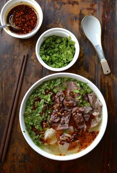 "Lanzhou Beef Noodle Soup (兰州""拉""面"", by thewoksoflife.com"