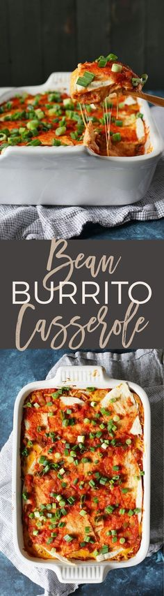 This bean burrito casserole is the perfect weeknight vegetarian freezer meal. Pull the casserole dish out of the freezer and defrost it during the day. Pop it in the oven after work and have dinner on the table in just 30 minutes! | http://honeyandbirch.com | make ahead | easy | cheap | best | delicious | on a budget | recipes | recipe | family | ideas | quick | vegan | weeknight | casseroles
