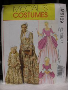Colonial or French 1700s Style Costume Pattern - Girls 3-8. $6.50, via Etsy.