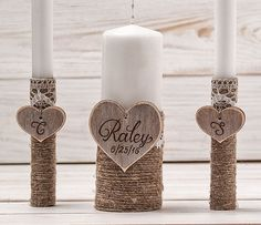 Wedding Unity Candle Set Rustic Unity by InesesWeddingGallery