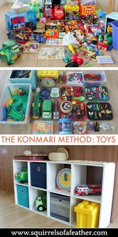Incredible KonMari before and after for kids playroom! Best guide to decluttering with kids EVER! I loved using the KonMari method to declutter toys. Both my kids and I are MUCH happier and more organized! Kids Bedroom Organization, Toy Organization, Organizing Toys, Organisation Ideas, Organising, Toy Rooms, Kids Rooms, Kids Storage, Baby Toy Storage
