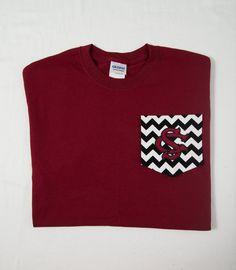Chevron Pocket Tshirt with University of South by BurlapandLaceSC1, $20.00