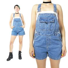 90s Grunge Overalls Denim Overalls Shorts Romper by honeymoonmuse