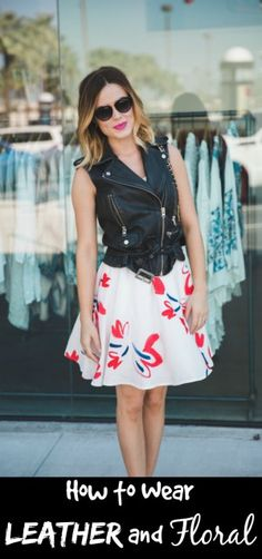 Leather vest and floral dress | Spring Look | Street Style