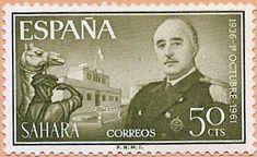 Sello Sáhara Español, 1936 - 1º octubre - 1961, General Francisco Franco Bahamonde - Portal Fuenterrebollo