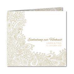 20 a 2,65 Einladungskarte Hochzeit New Paisley (R-3192)