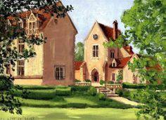 Le château de Pontarmé. Peinture à la gouache de Guillaume Le Baube faite d'après nature. Oise. Art