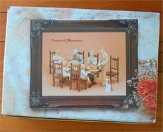 Treasured Memories E-3251 by Enesco.   This would make an awesome holiday decoration for Thanksgiving or even Christmas or Easter. The set includes 7 porcelain figurines 1 wooden table 6 wooden chairs 6 porcelain plates 1 porcelain bowl (veg or stuffing?) 1 porcelain fruit basket 1 porcelain turkey All as originally included when new. No chips, no breaks or cracks. All larger pieces are marked on uncolored bottoms as shown in pic 5. Pieces are a matte finish ie not glossy or smooth.   For an…