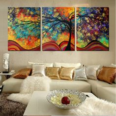 Large Wall Art Decor Abstract Tree Painting Colorful Landscape Paintings Canvas Picture For Living Room Decoration No Frame Home Decor Paintings, Home Decor Wall Art, Wall Paintings, Bedroom Decor, Toile Photo, Abstract Tree Painting, Painting Canvas, Spray Painting, Oil Painting Gallery
