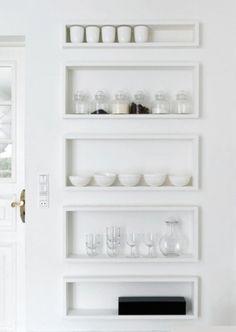 minimal interior white kitchen shelves