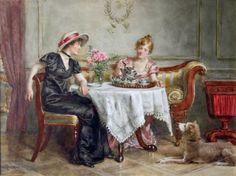 """Tea for Two"" (George Goodwin Kilburne, 1839-1924)   artTea: 40 favorite tea paintings   Jama's Alphabet Soup"