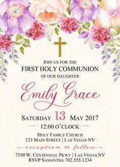 Primera comunión Floral invita bautismo comunión Floral