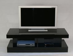 Stolik RTV biały czarny LED wysoki połysk M1