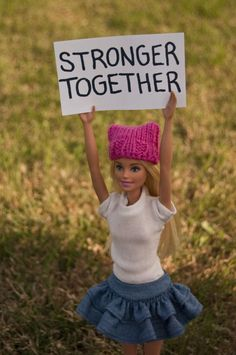 Barbie Wearing her PussyHat! We are all stronger together!