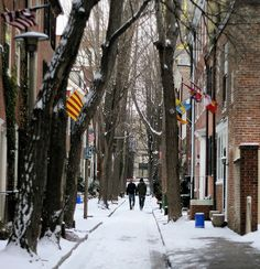 Quince Street, Washington West neighborhood of Philadelphia, is one of the prettiest old colonial alleys in Center City. Walk This Way, Philadelphia Pa, Old City, Colonial, The Neighbourhood, Washington, Snow, Studio, Street
