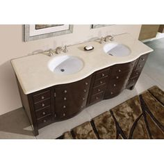 @Overstock.com - Silkroad Exclusive Pomona 72-inch Double Sink Bathroom Vanity - This double sink bathroom vanity comes fully assembled with beige, vein cut, travertine countertop and undermount ivory ceramic sinks. This double sink vanity features an espresso wood finish and brushed chrome and polished chrome hardware finish.  http://www.overstock.com/Home-Garden/Silkroad-Exclusive-Pomona-72-inch-Double-Sink-Bathroom-Vanity/5583611/product.html?CID=214117 $1,385.99