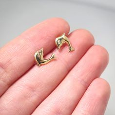 Adita 14k Solid Yellow Gold 9mm HANDMADE Girls SeaHorse ELEGANT Stud Earrings #Etsy #jewelry #fashion #accessories #woman #girls #gemstone #gemstonejewels #style