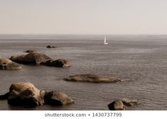 White Sailboat Sails Along Rocky Shores Stock Photo (Edit Now) 1430737799 Rocky Shore, Sailboat, Sailing, Photo Editing, Royalty Free Stock Photos, Illustration, Nature, Pictures, Animals