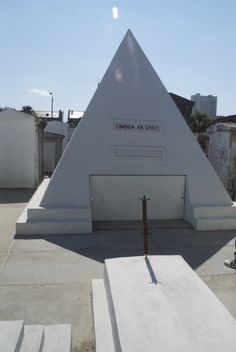 "I like this idea - construct your monument BEFORE you die. The future tomb of actor Nicolas Cage at St. Louis No. 1 Cemetery, New Orleans...the inscription above the door reads"" Omnia Ab Uno or Come From One"" are the latin words"