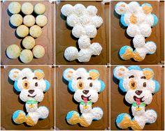 Bubble Guppies party idea - puppy cupcake cake