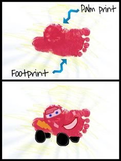 CARS/Lightning McQueen handprint/footprint art project for kids/toddlers - Kinder Ideen Daycare Crafts, Baby Crafts, Toddler Crafts, Preschool Crafts, Daycare Rooms, Kid Crafts, Summer Crafts For Toddlers, Art For Kids, Disney Crafts For Kids