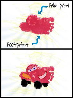 CARS/Lightning McQueen handprint/footprint art project for kids/toddlers