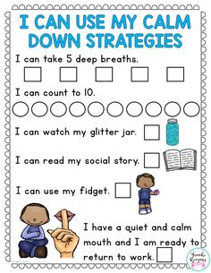 Calm down strategies choice board to use when students need a visual and way to track using their calm down strategies. Elementary School Counseling, School Social Work, School Counselor, Classroom Behavior Management, Behaviour Management, Coping Skills, Social Skills, Life Skills, Autism Classroom