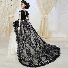 Barbie Doll Midnight Black Lace Chapel Train Party/Wedding Dress – USD $ 9.99
