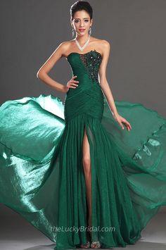 Green Chiffon Strapless Slit Front Long Mermaid Evening Dress