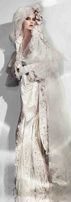 wedding gown by John Galliano, John Galliano, haute couture, couture, fashion, catwalk, runway