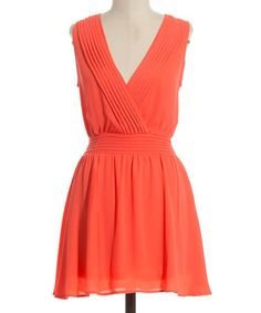 Coral Sleeveless Surplice Dress by Coveted Clothing #zulily #zulilyfinds