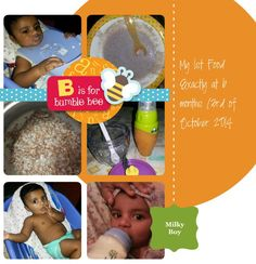 Baby's 1st meal, pureed red rice and formula milk to thin it
