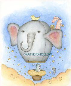 ELEPHANT  Hot Air Balloon Art Print 8x 10 giclee by Katydidhollow, $20.00