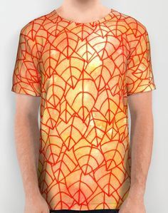 """""""Autumn foliage"""" All Over Print Shirt by Savousepate on Society6 #tshirt #teeshirt #clothing #pattern #tangle #leaf #leaves #foliage #nature #autumn #fall #yellow #orange #red"""