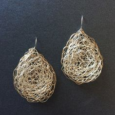 Spun Extra Large Teardrop Earrings in Bi-metal