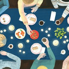 Long walks, short getaways and family diners. These colorful illustrations by Grace Helmer make me daydream about joyful moments in life.