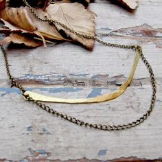 SALE Blades of Grass  Curved Brass Bar and Chain by Tangleweeds, $40.00